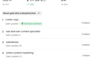 Screenshot van de top 40 zoekwoorden waarop Coster Copy gevonden wordt